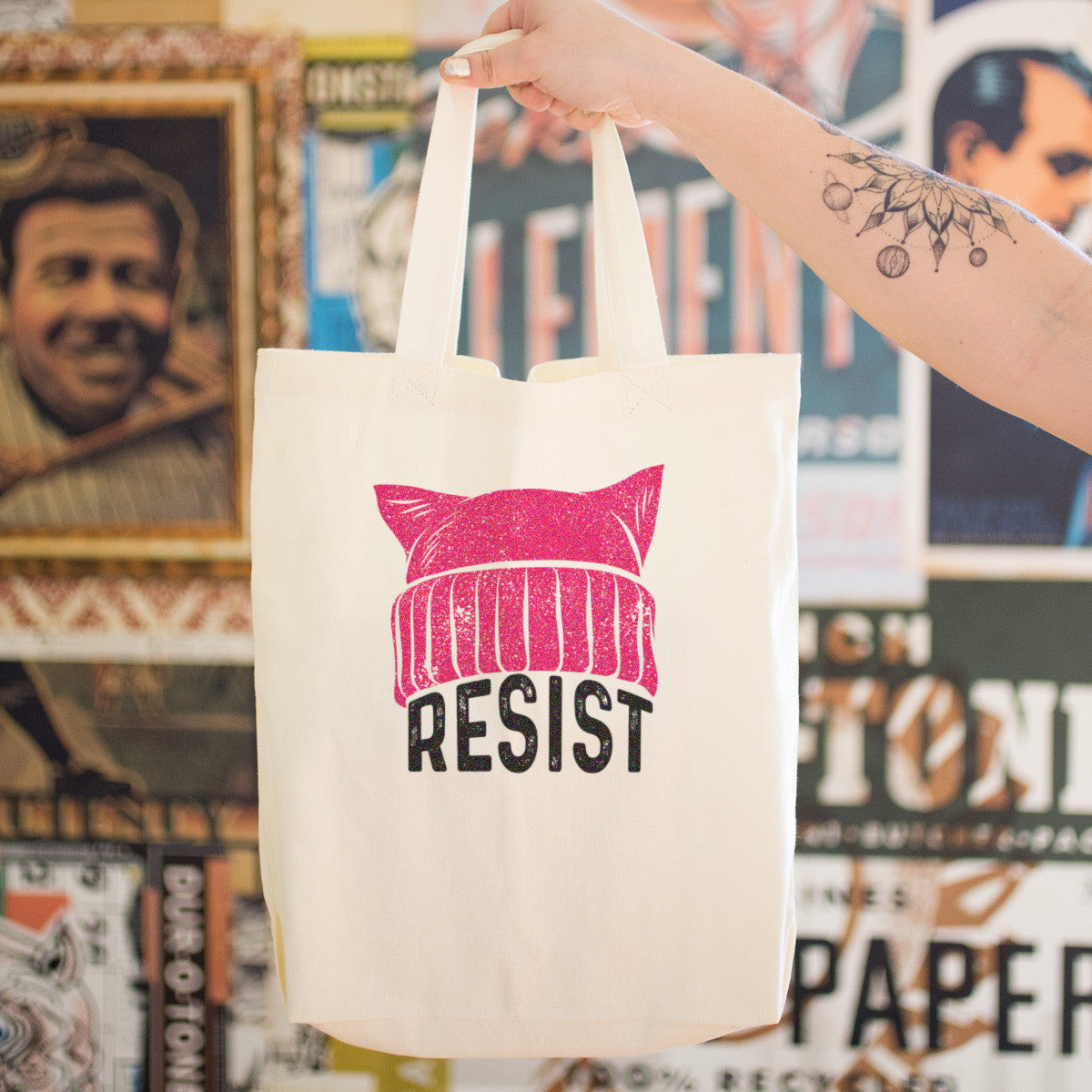RESIST - Pussy Hat Cotton Tote Bag - pipercleo.com