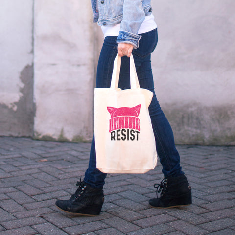 RESIST - Pussy Hat Cotton Tote Bag