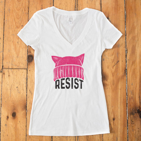 RESIST - Pussy Hat V-Neck T-shirt