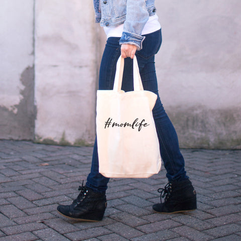 #momlife Cotton Tote Bag