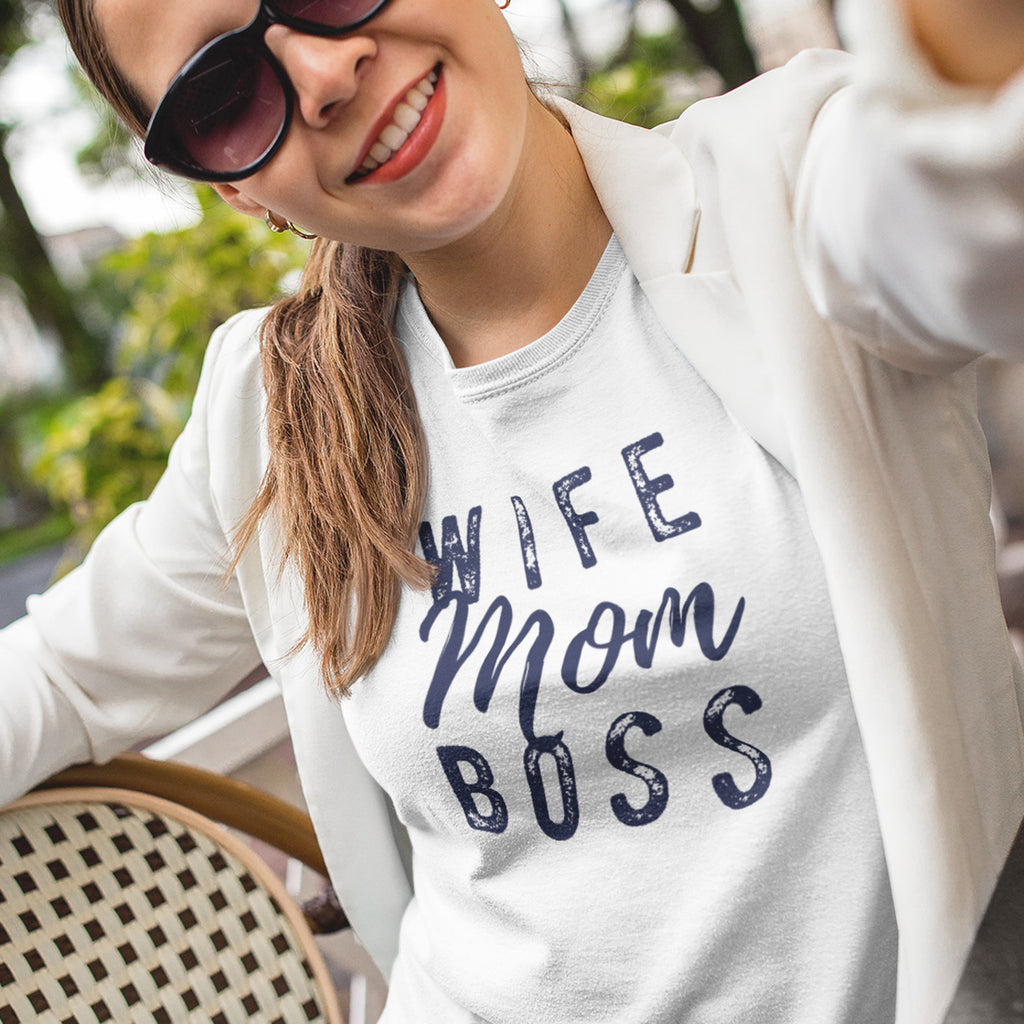 Wife Mom Boss Ladies' Boyfriend T-Shirt - pipercleo.com
