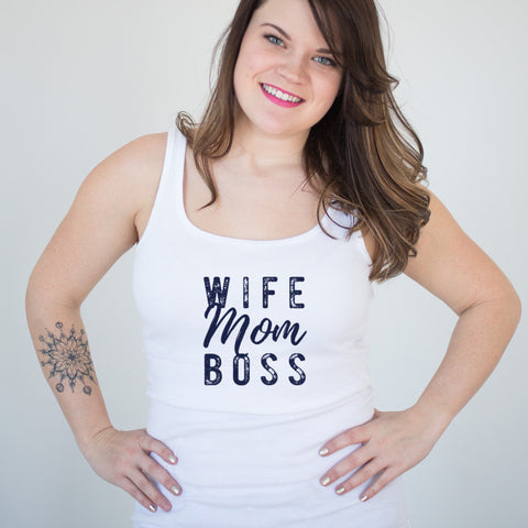 Wife Mom Boss Ladies' Tank