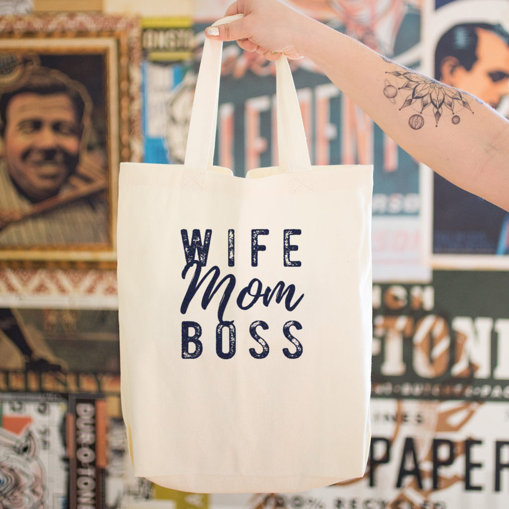 Wife Mom Boss Cotton Tote Bag