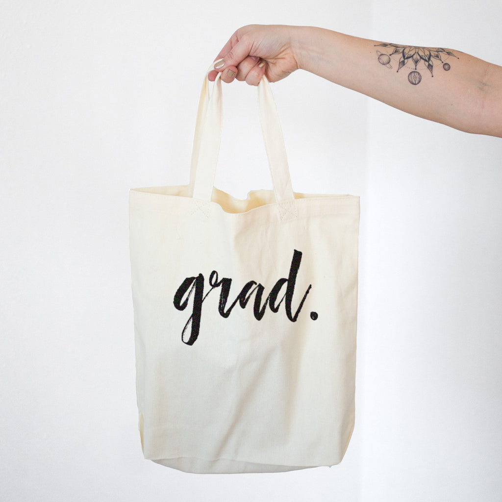 GRAD. Senior Graduate Cotton Tote Bag