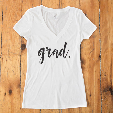 GRAD. Graduate Senior V-Neck White T-Shirt