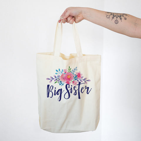 Big Sister - Watercolor Flowers Cotton Tote Bag - pipercleo.com