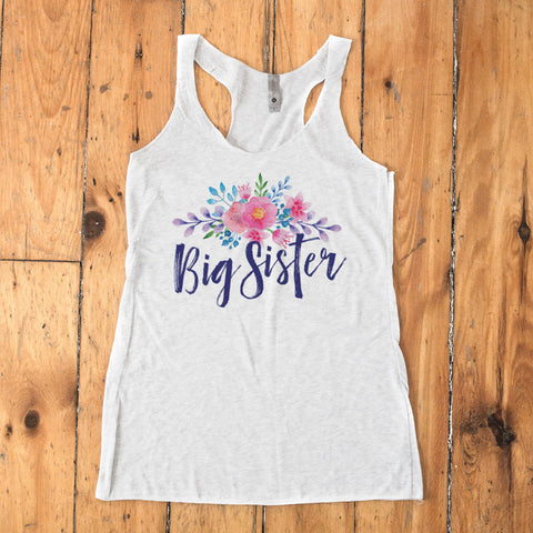 Big Sister - Watercolor Flowers Racerback Tank