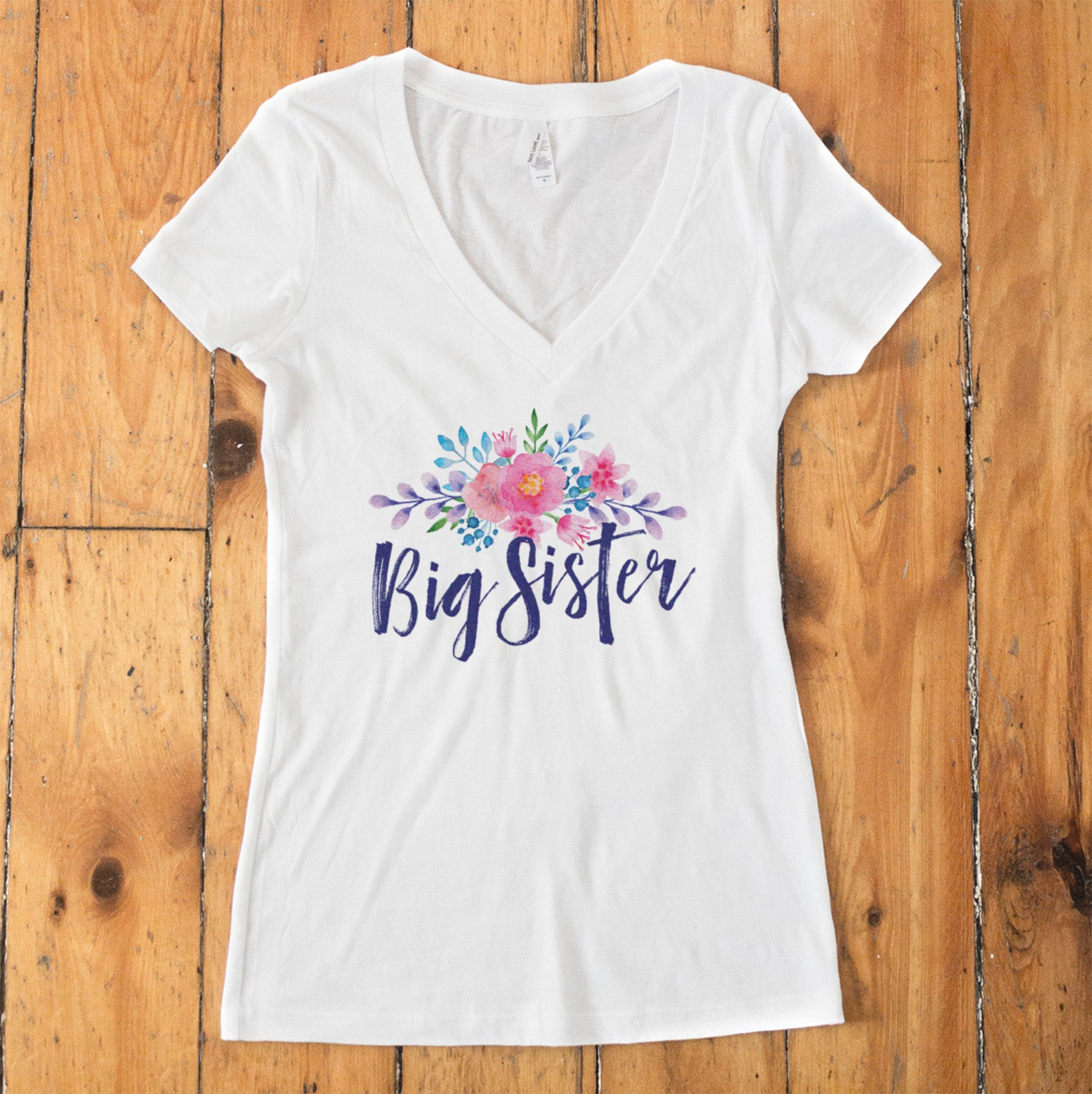 Big Sister Watercolor Flower V-Neck T-Shirt - pipercleo.com