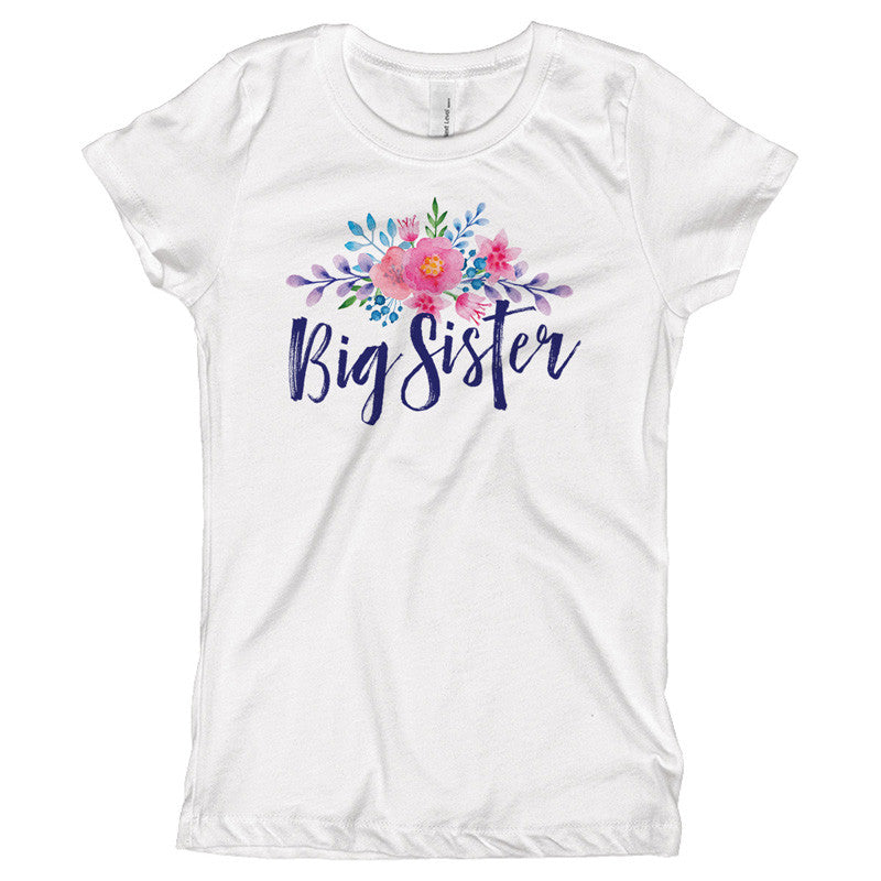 Big Sister Watercolor Flowers Youth Size T-Shirt - pipercleo.com