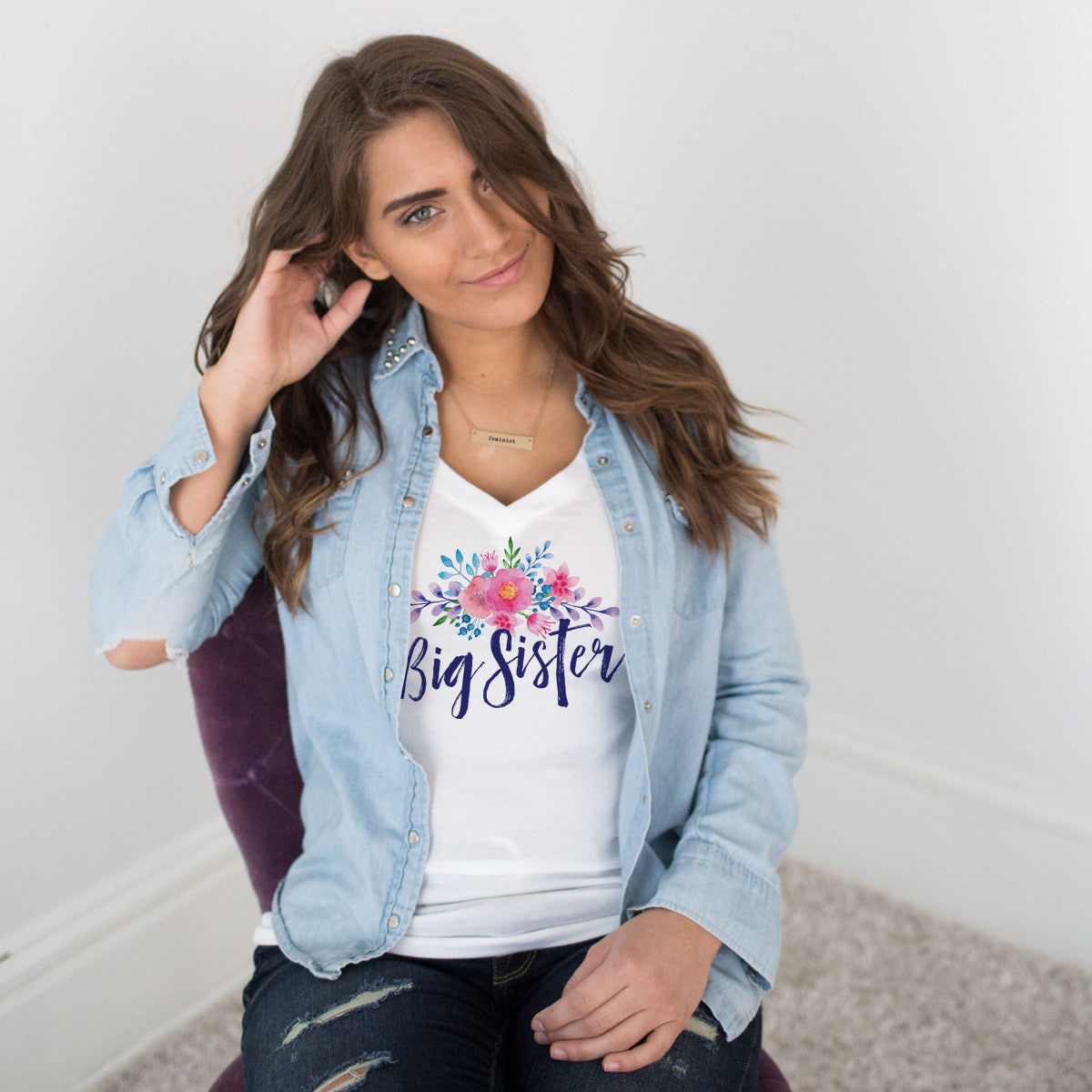 Big Sister Watercolor Flower V-Neck T-Shirt