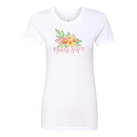 Middle Sister - Watercolor Flowers Ladies' Boyfriend T-Shirt