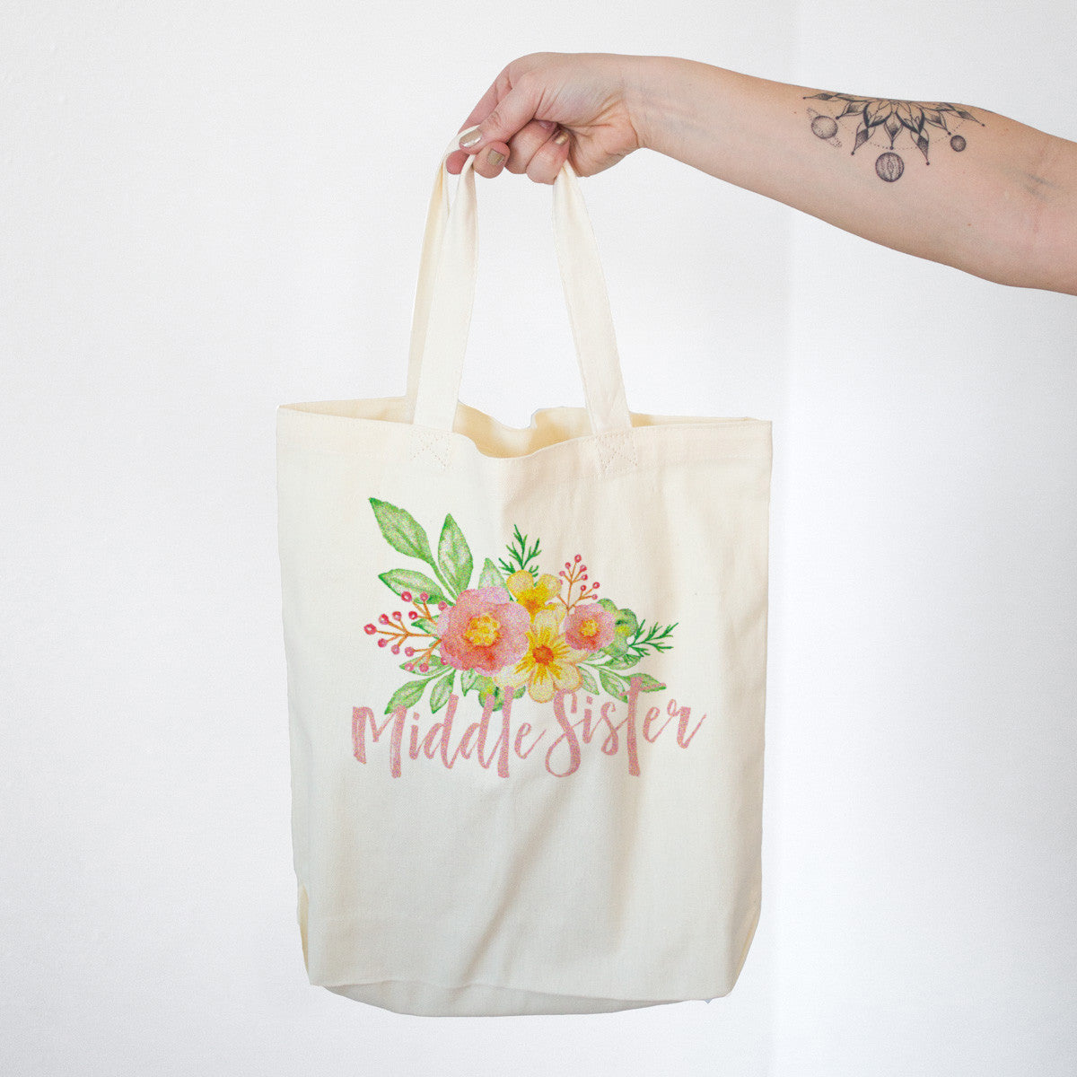 Middle Sister - Watercolor Flowers Cotton Tote Bag - pipercleo.com