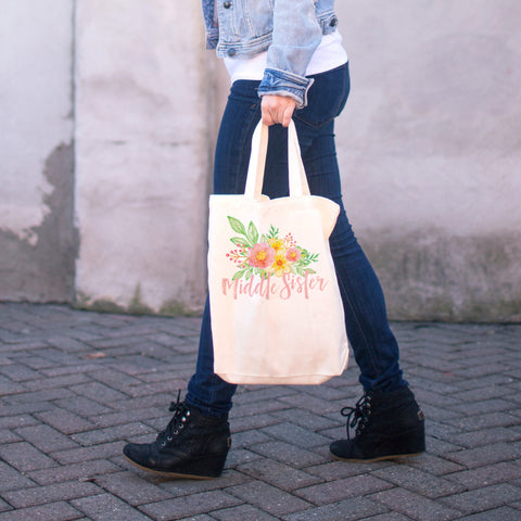 Middle Sister - Watercolor Flowers Cotton Tote Bag