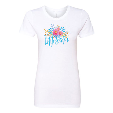 Little Sister - Watercolor Flowers Ladies' Boyfriend T-Shirt