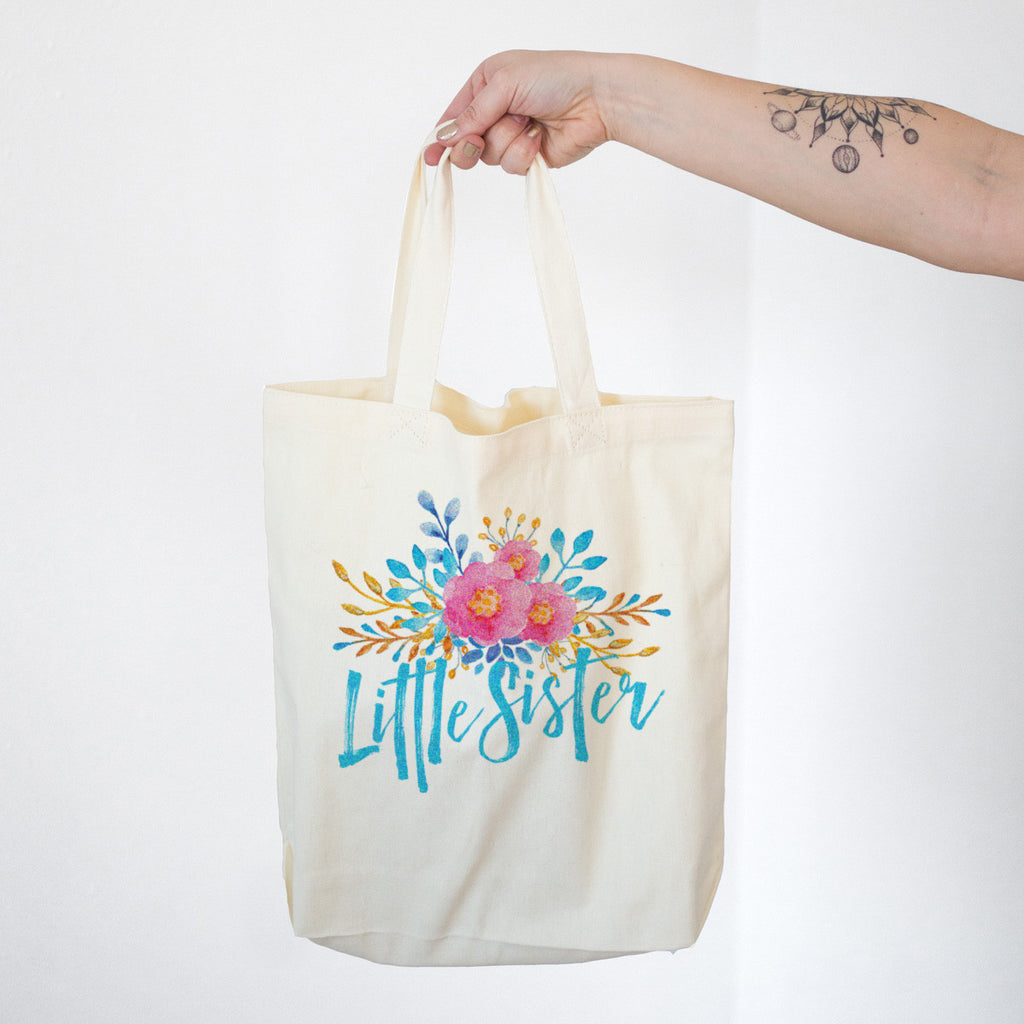 Little Sister - Watercolor Flowers Cotton Tote Bag - pipercleo.com