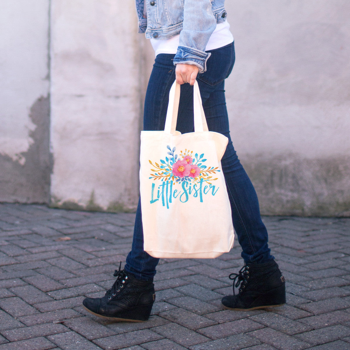 Little Sister - Watercolor Flowers Cotton Tote Bag