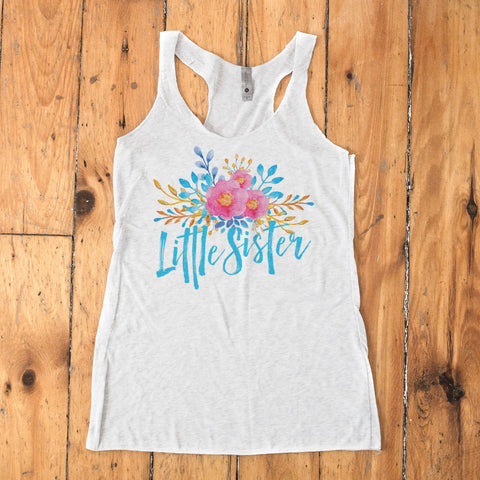 Little Sister - Watercolor Flowers Racerback Tank