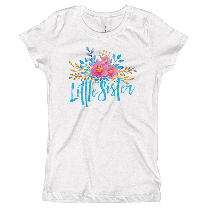 Little Sister Watercolor Flowers Youth Size T-Shirt
