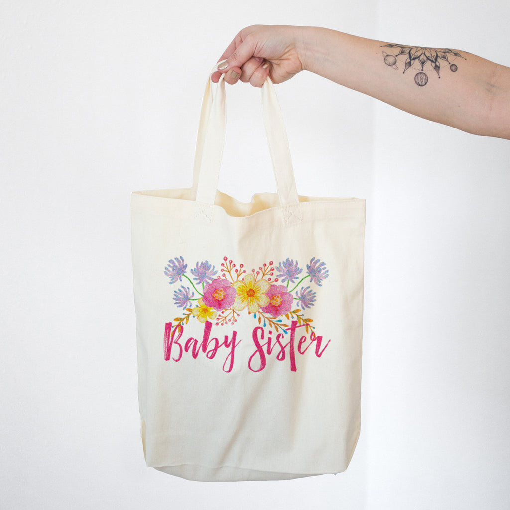 Baby Sister - Watercolor Flowers Cotton Tote Bag - pipercleo.com