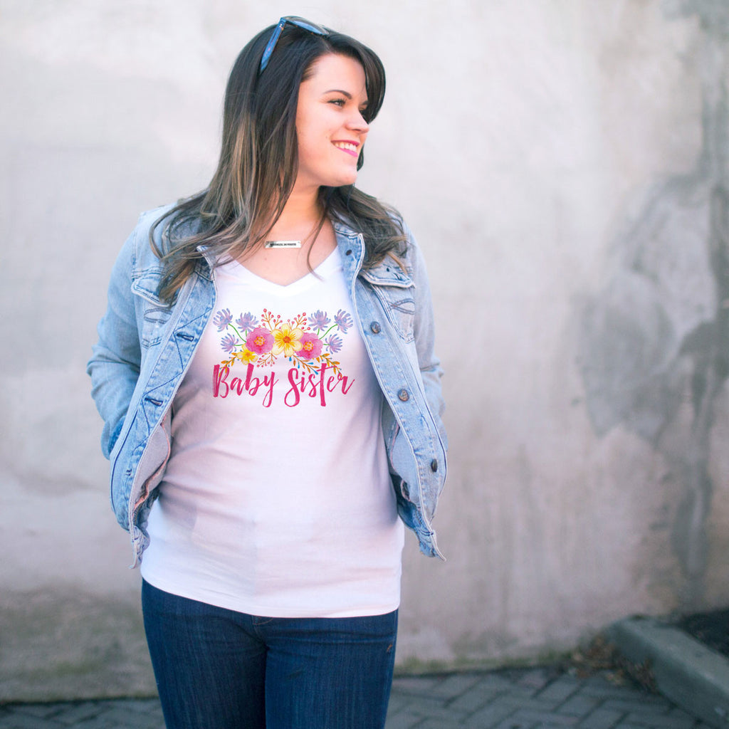 Baby Sister Watercolor Flower V-Neck T-Shirt - pipercleo.com
