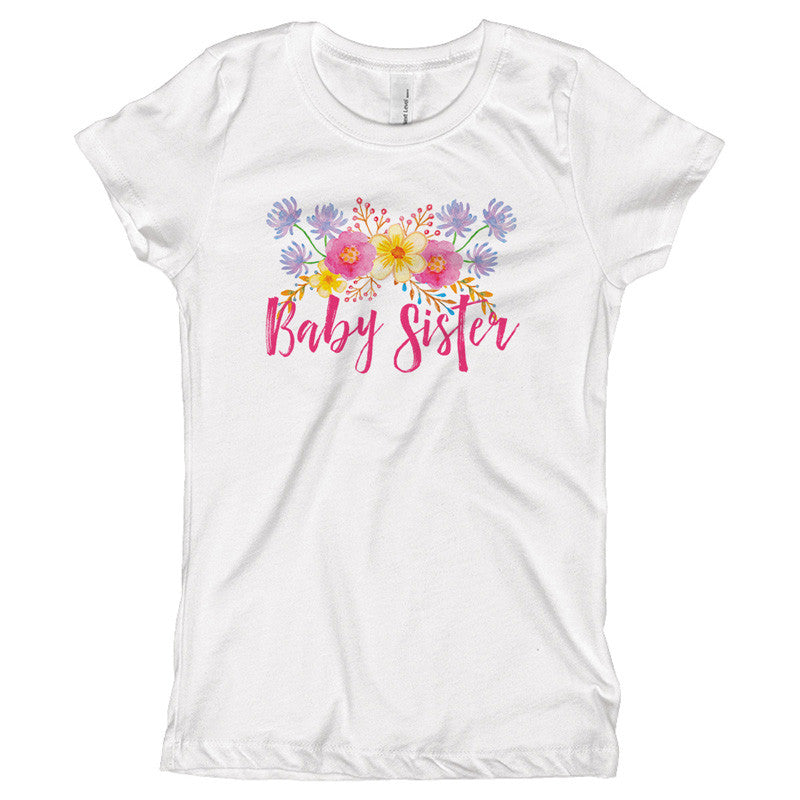 Baby Sister Watercolor Flowers Youth Size T-Shirt