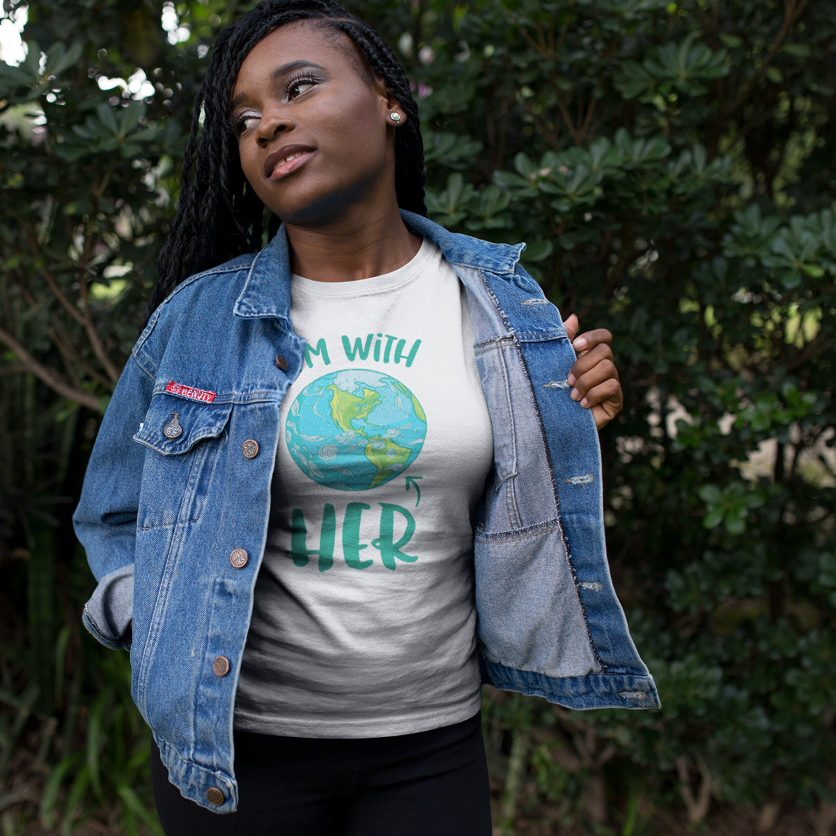 I'm With HER - Mother Earth Support Ladies' Boyfriend T-Shirt - pipercleo.com