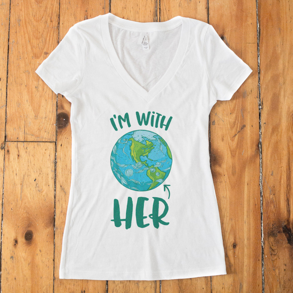 I'm With HER - Mother Earth Support V-Neck T-Shirt - pipercleo.com