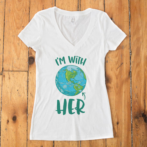 I'm With HER - Mother Earth Support V-Neck T-Shirt