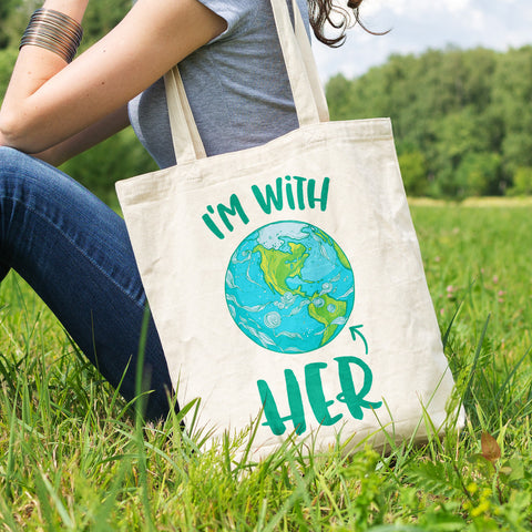 I'm With HER - Mother Earth Support Cotton Tote Bag - pipercleo.com