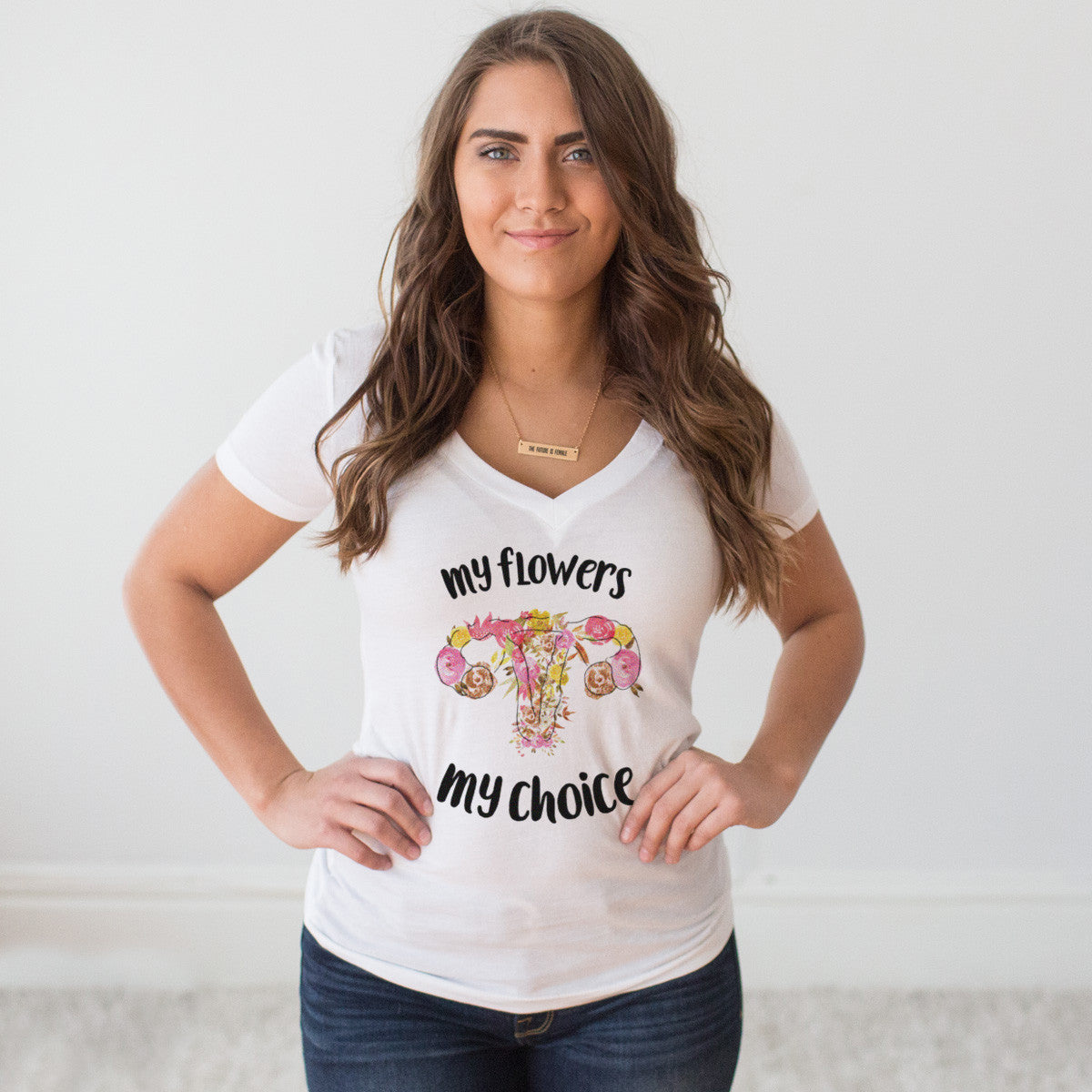 My Flowers My Choice V-Neck T-Shirt - pipercleo.com