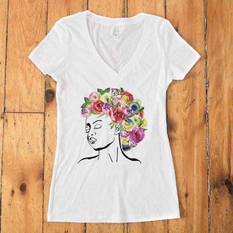 Styled by Mother Nature - Watercolor Flowers V-Neck T-Shirt - pipercleo.com