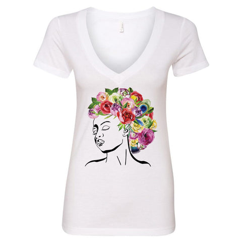 Styled by Mother Nature - Watercolor Flowers V-Neck T-Shirt