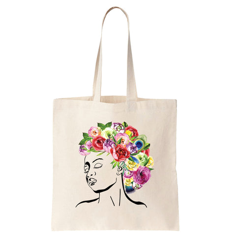 Styled by Mother Nature - Watercolor Flowers Cotton Tote Bag - pipercleo.com