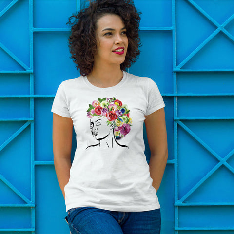 Styles by Mother Nature - Watercolor Flowers Ladies' Boyfriend T-Shirt