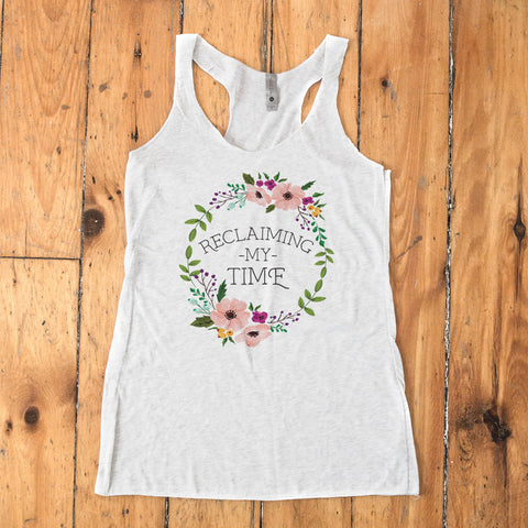 Reclaiming my Time - Flower Wreath Raceback Tank - pipercleo.com