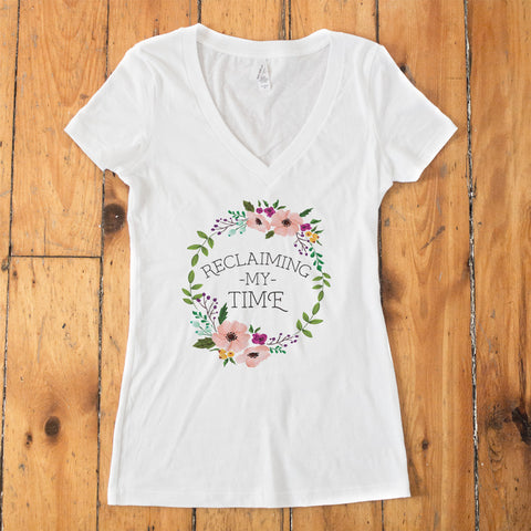 Reclaiming my Time - Flower Wreath V-Neck T-Shirt - pipercleo.com
