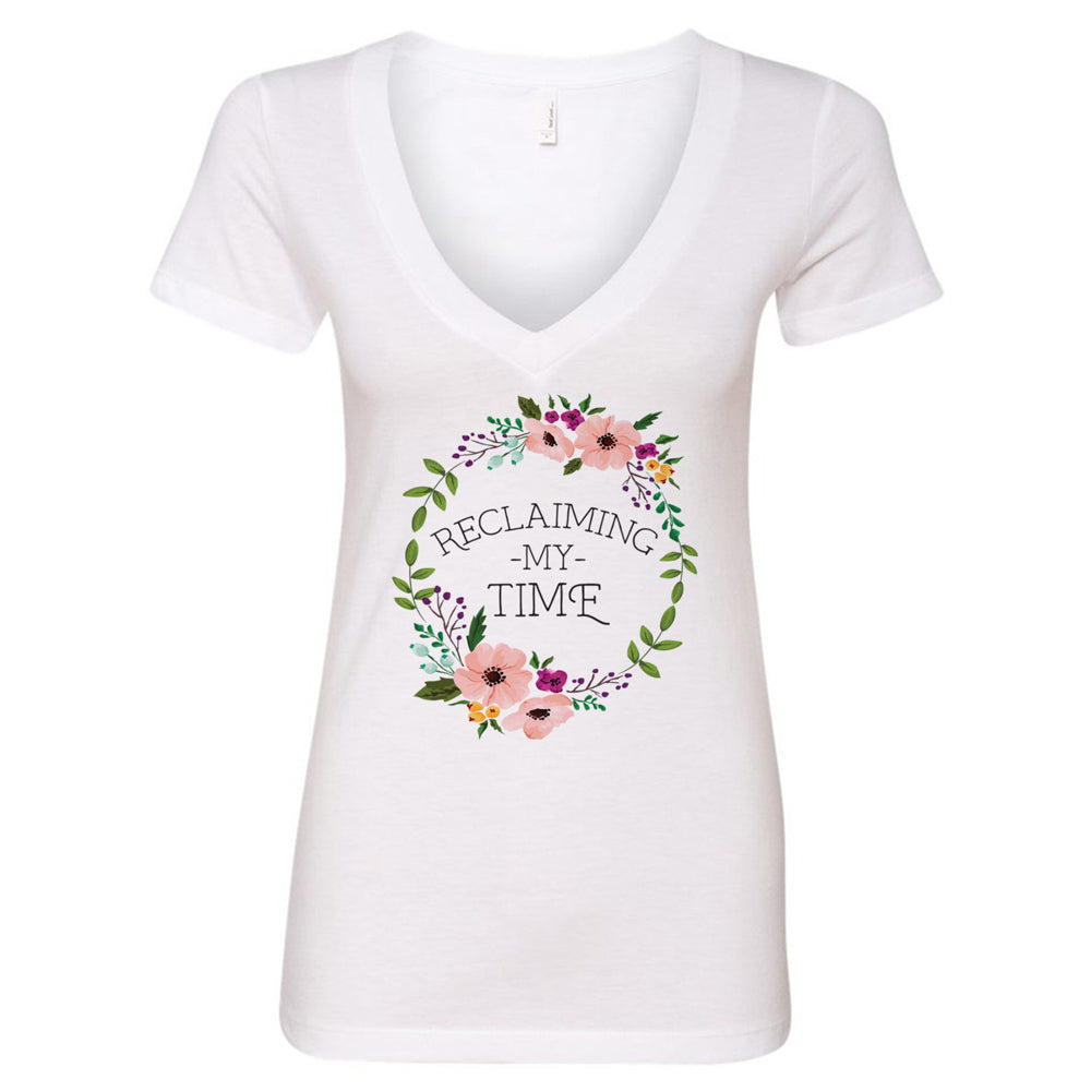 Reclaiming my Time - Flower Wreath V-Neck T-Shirt