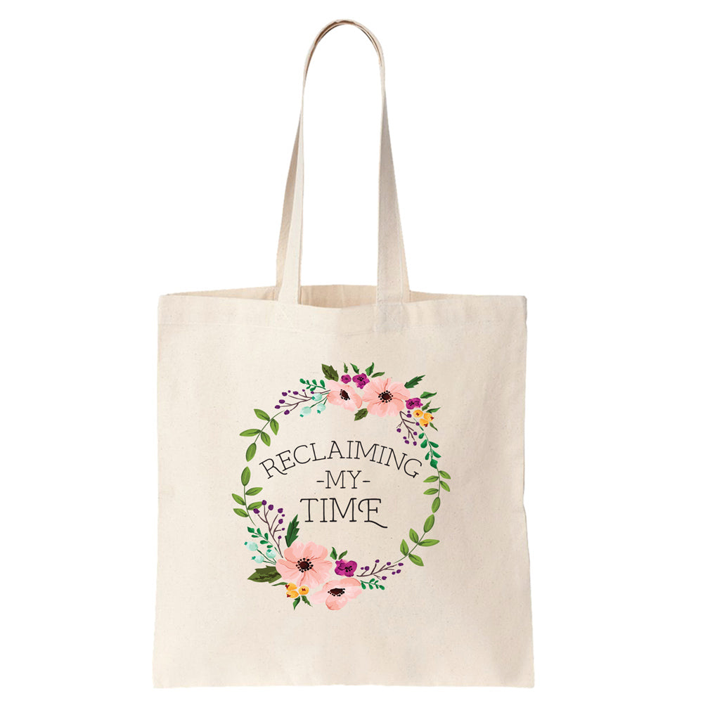 Reclaiming my Time - Flower Wreath Cotton Tote Bag - pipercleo.com