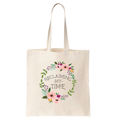 Reclaiming my Time - Flower Wreath Cotton Tote Bag