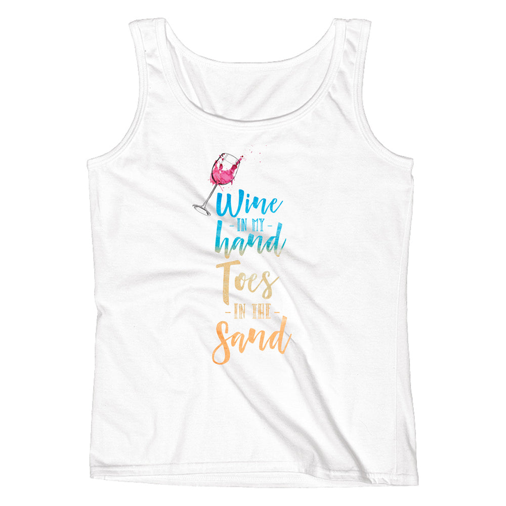 Wine in my Hand Toes in the Sand Ladies' Tank - pipercleo.com