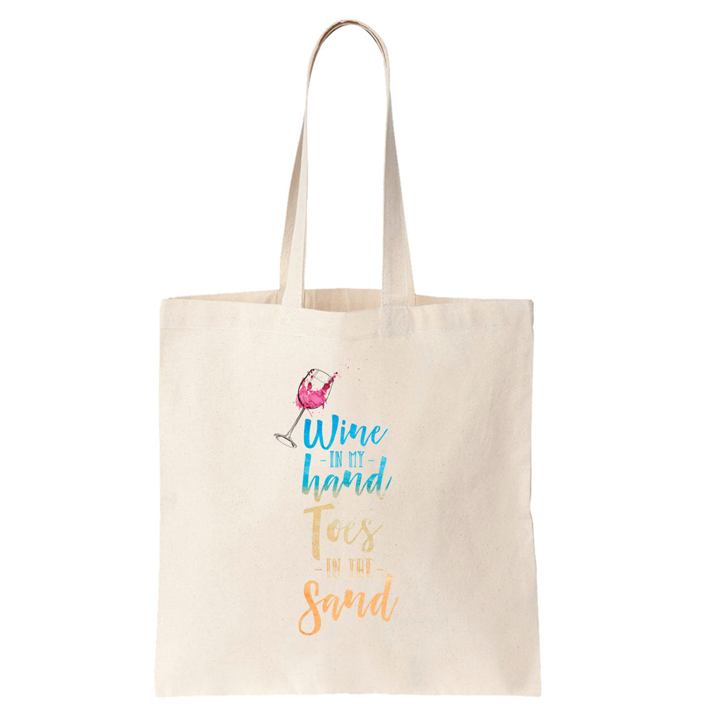 Wine in my Hand Toes in the Sand Cotton Tote Bag - pipercleo.com