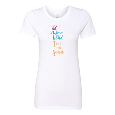 Wine in my Hand Toes in the Sand Ladies' Boyfriend T-Shirt - pipercleo.com