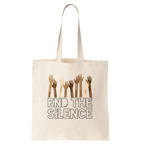 End the Silence - #MeToo Movement Cotton Tote Bag - pipercleo.com