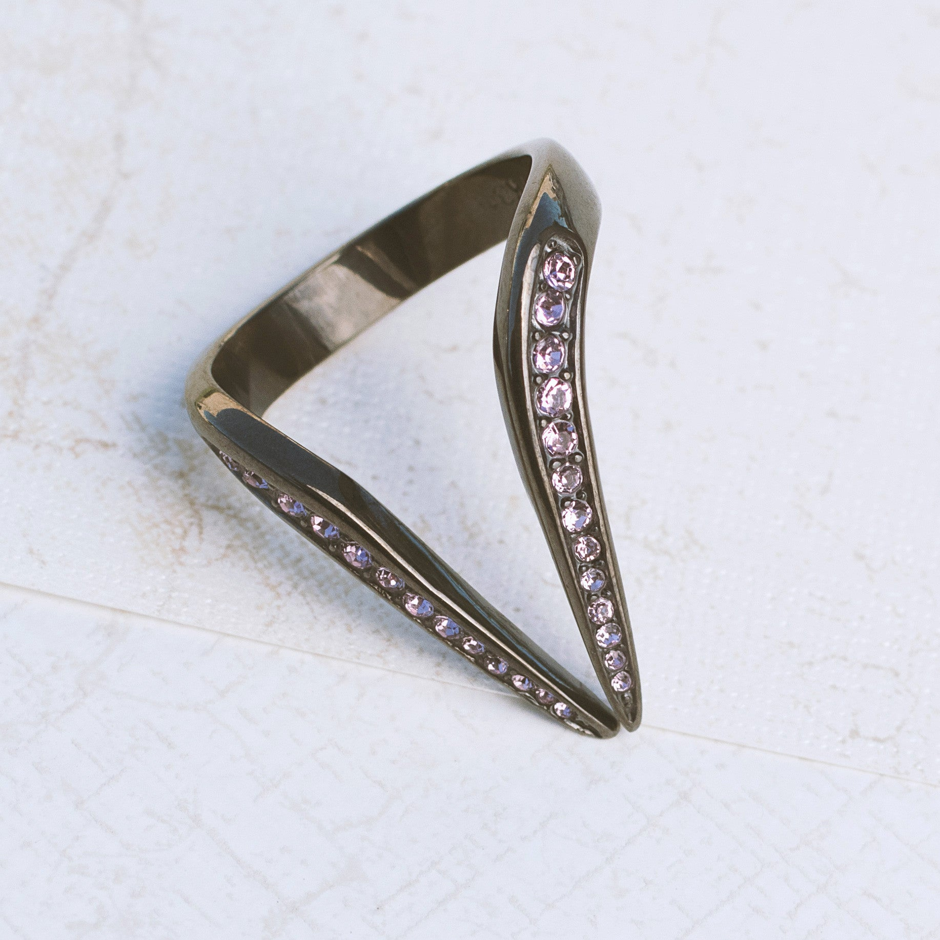Gunmetal Spike Stainless Steel Ring - pipercleo.com