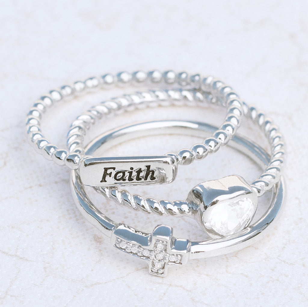 Faith Sterling Silver Ring Set