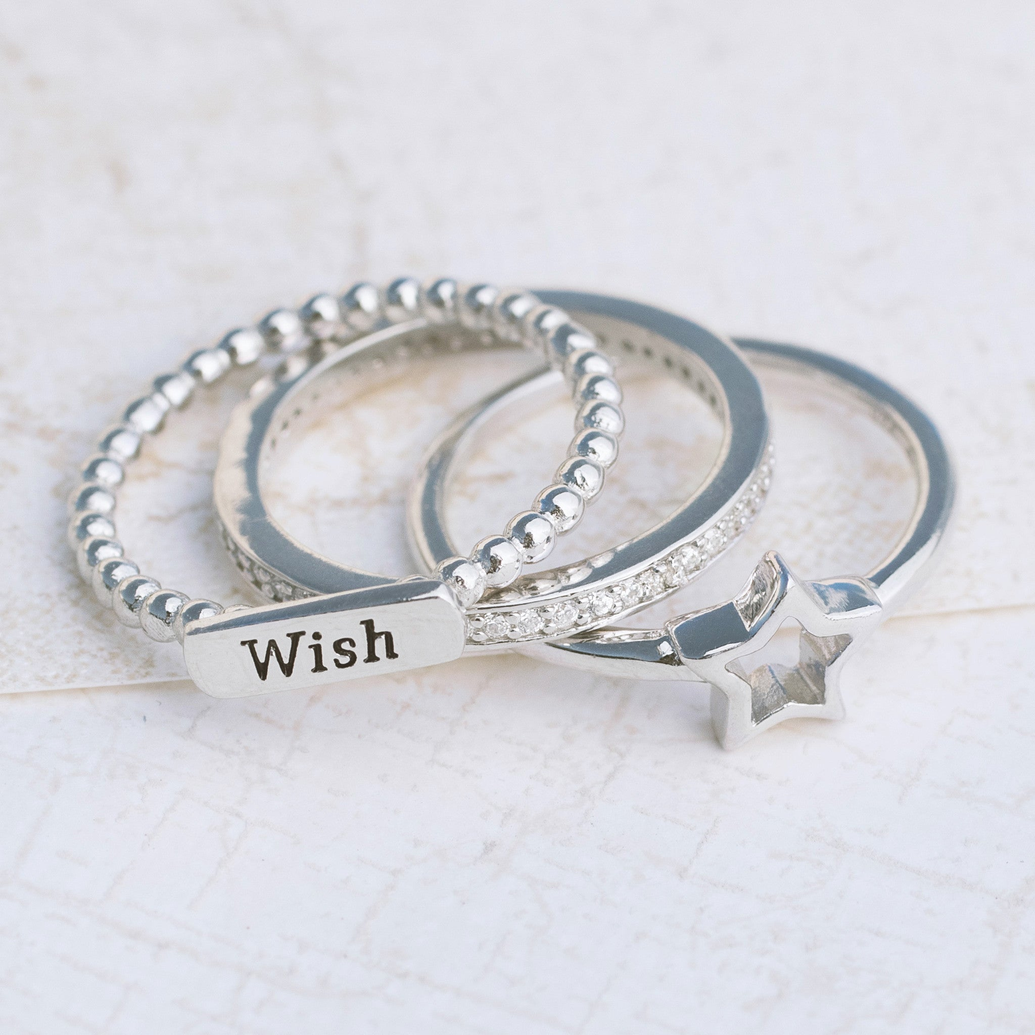 Make a Wish Sterling Silver Ring Set