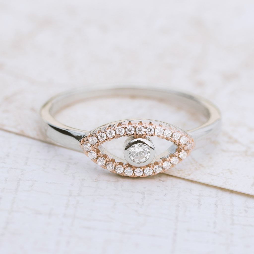 Evil Eye Sterling Silver Ring - pipercleo.com