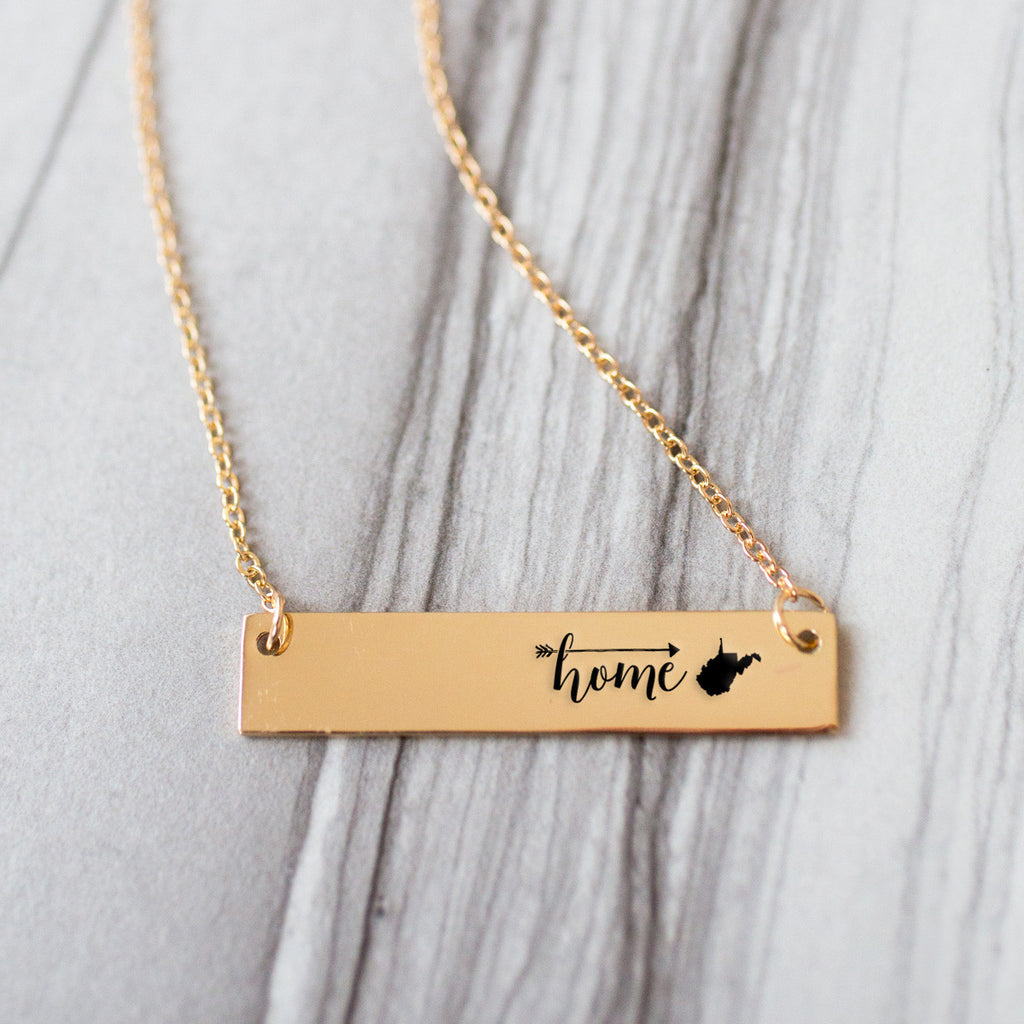Home is West Virginia Gold / Silver Bar Necklace