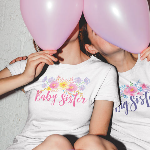 Baby Sister - Watercolor Flowers Ladies' Boyfriend T-Shirt - pipercleo.com
