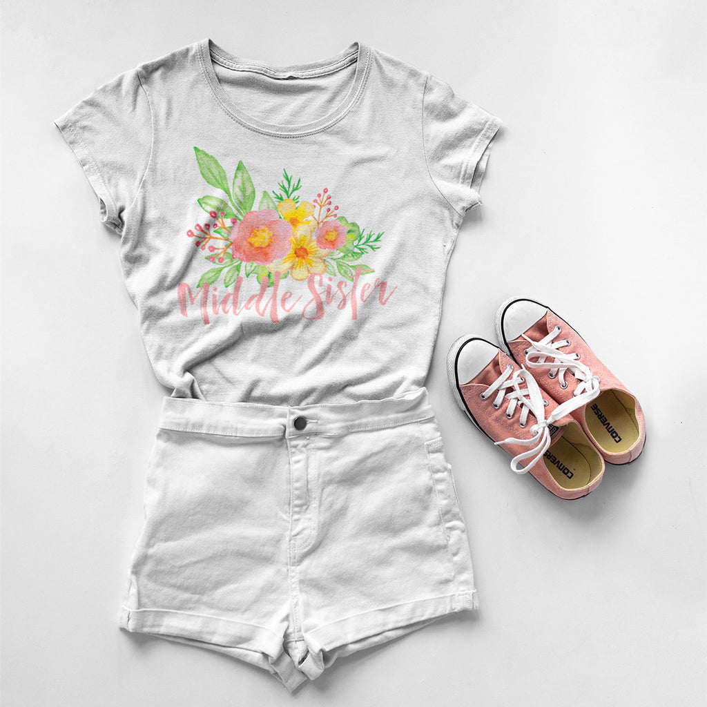 Middle Sister - Watercolor Flowers Ladies' Boyfriend T-Shirt - pipercleo.com